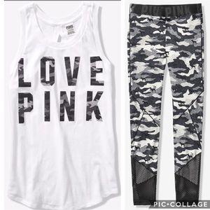 Victoria Secret VS PINK ankle leggings tank Camo